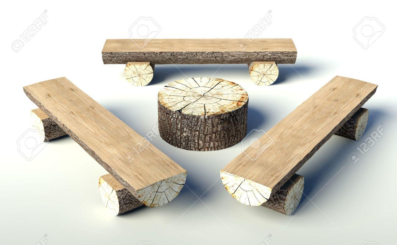 Favori Panca Di Legno E Tavolo Di Tronchi D'albero, Oggetti Foto Royalty  BB35