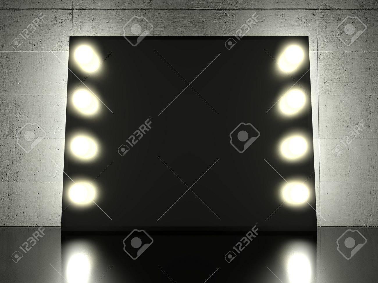 Make Up Spiegels : Make up spiegel mit glühenden glühbirnen hintergrund lizenzfreie