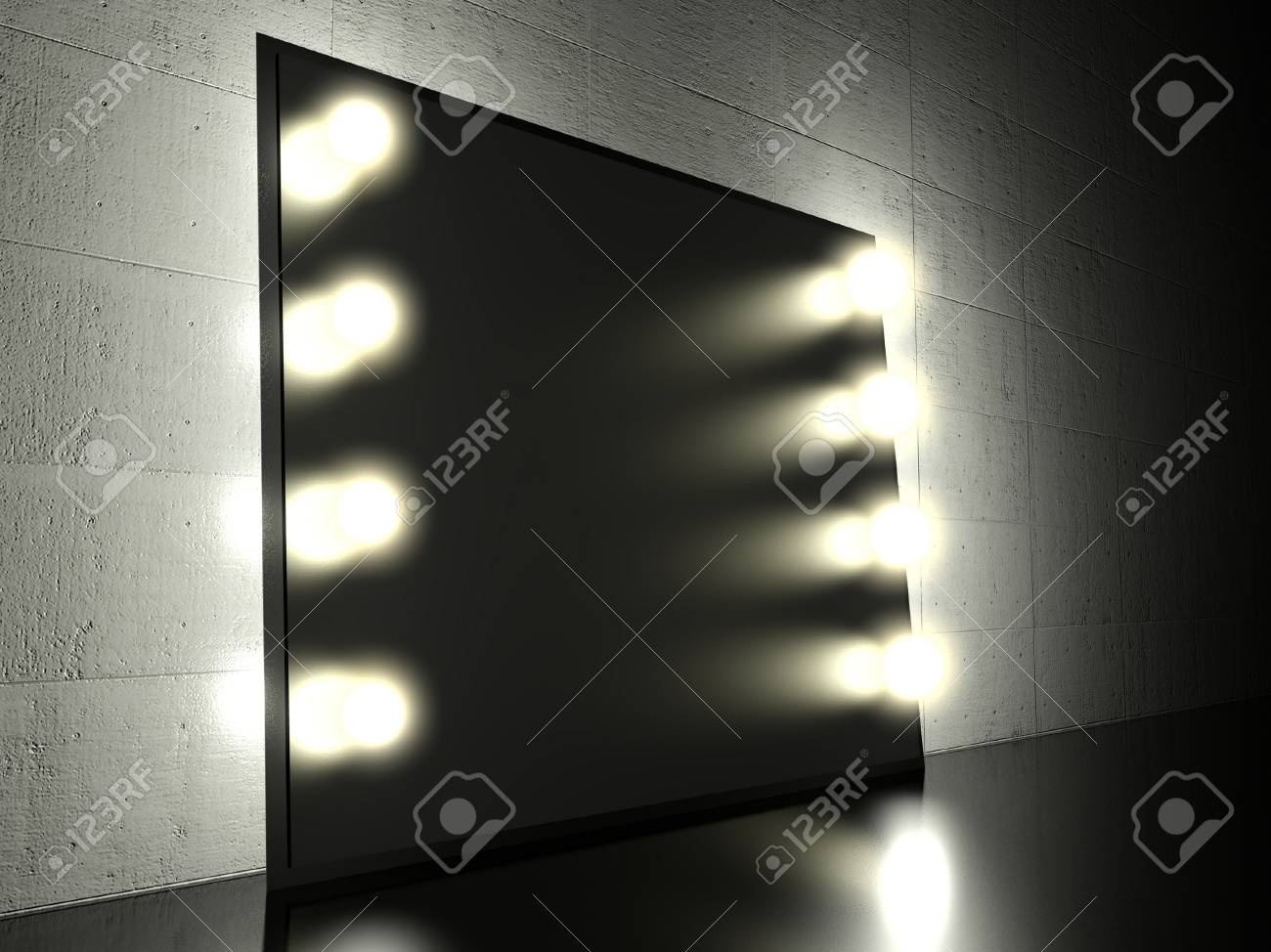 Make Up Spiegels : Make up spiegel mit leuchtenden glühbirnen hintergrund