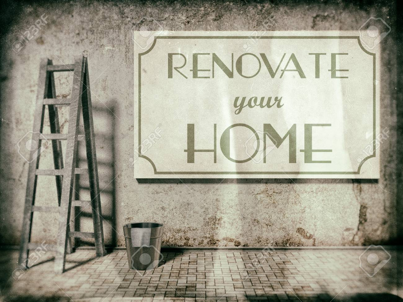 Renovate Your Home On Building Wall, Time To Refurbishment Stock Photo    25548716