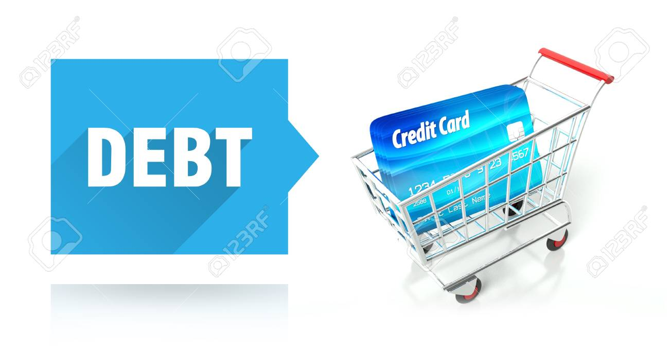 Debt concept with credit card and shopping cart Stock Photo - 26323436