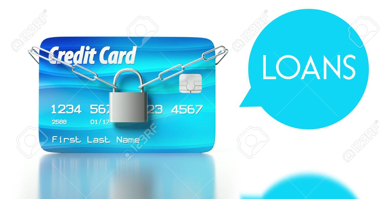 Loans concept, credit card with padlock and chain Stock Photo - 26323601