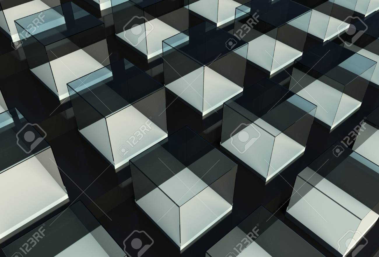 3d exhibition space, Empty glass showcase Stock Photo - 26441096