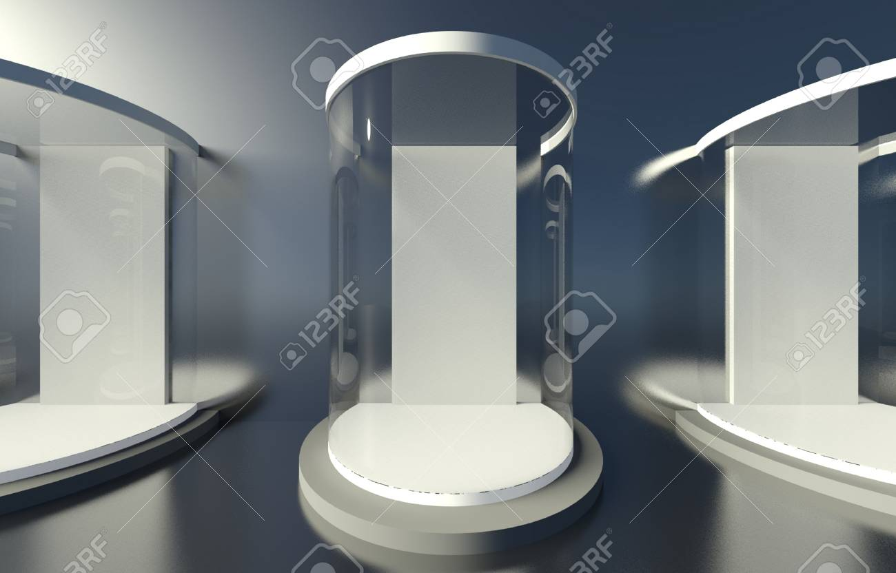 3d exhibition space, Empty glass showcase Stock Photo - 26441097