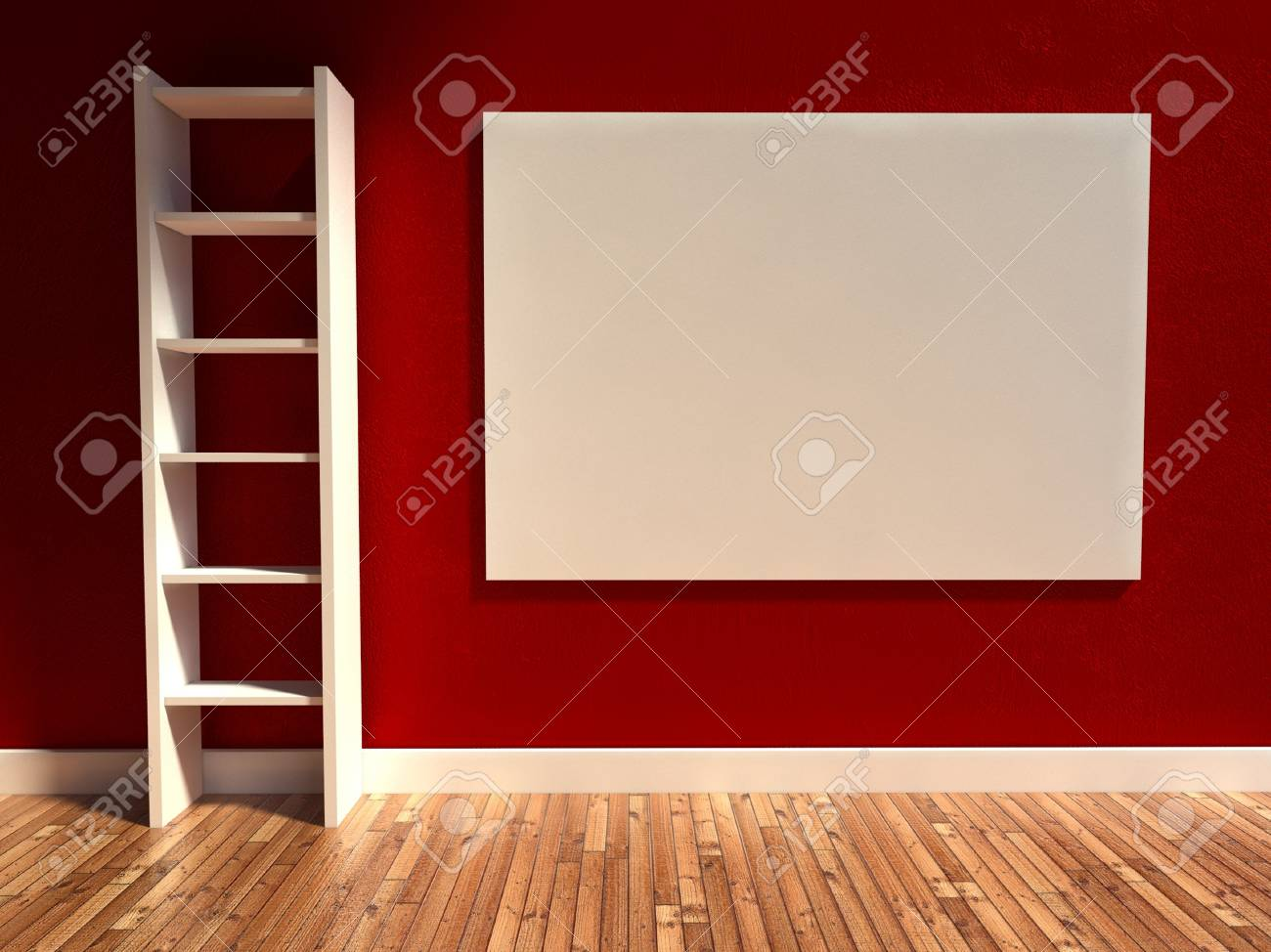 D modern interior empty billboard and shelf stock photo picture
