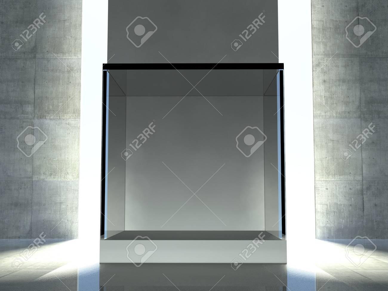 Empty glass showcase, 3d exhibition space Stock Photo - 26443933