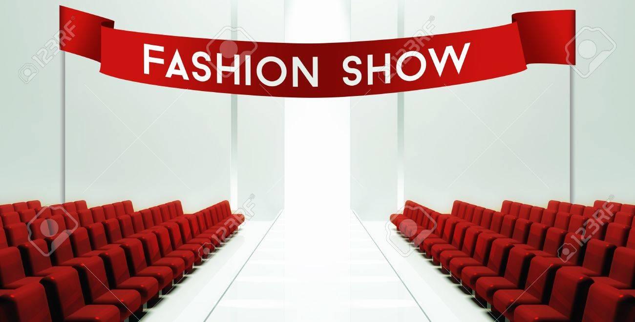 Fashion Show Slogan On Ribbon Empty Runway Background Stock Photo