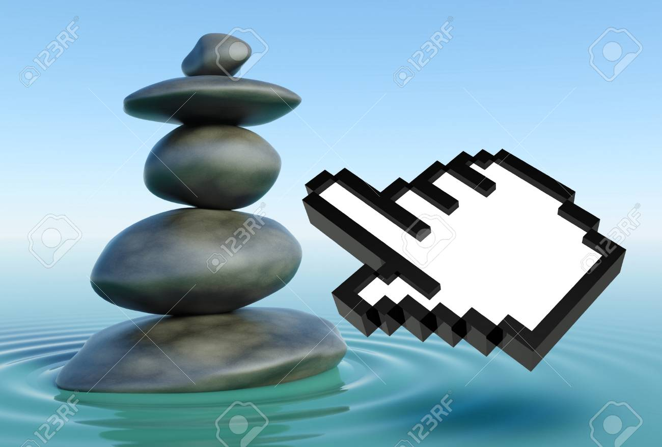 3d Zen Stones In A Water With Hand Icon Stock Photo