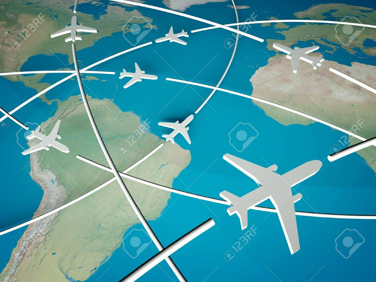 3d Airplane Routes World Map Stock Picture And Royalty