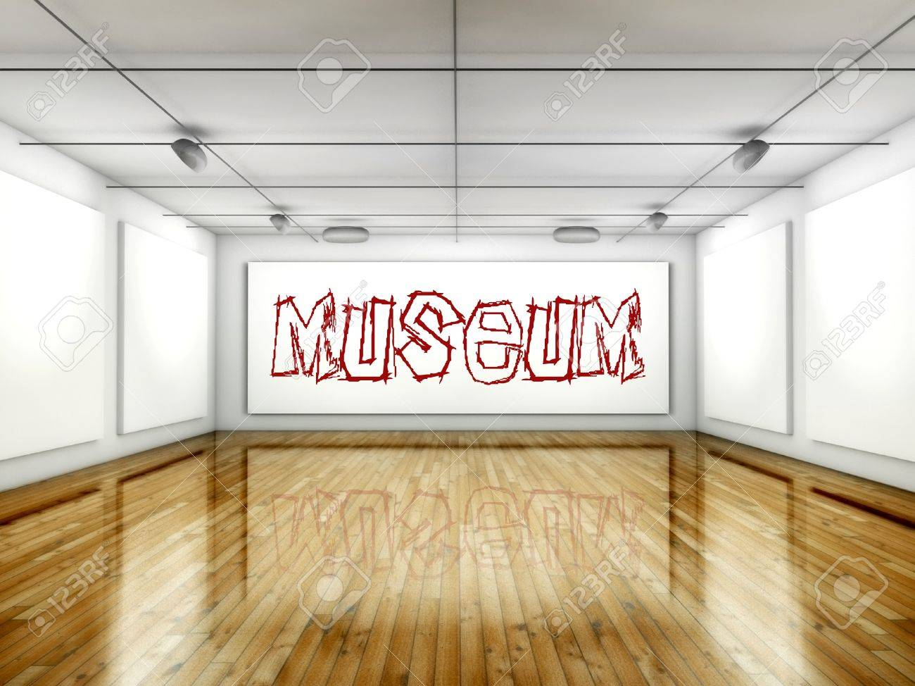 Museum concept, Art gallery interior with wall paintings