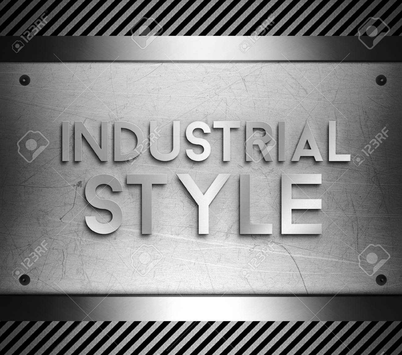Industrial Style Concept On Steel Plate Background Stock Photo