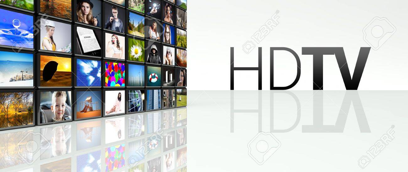 Hdtv technology video wall, LCD TV panels Stock Photo - 29027096