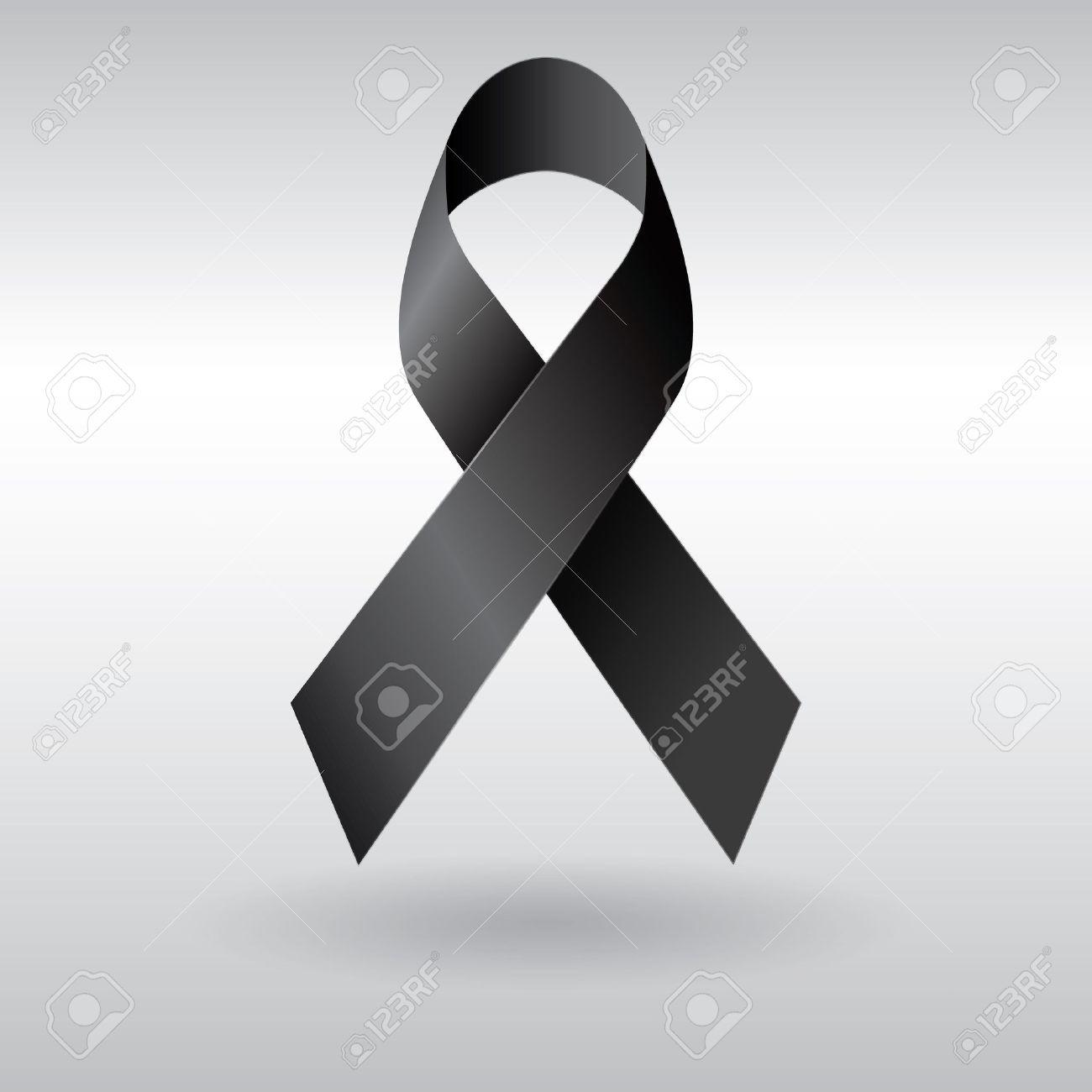 Cinta negro vector el luto y el signo de melanoma foto de archivo 35354407