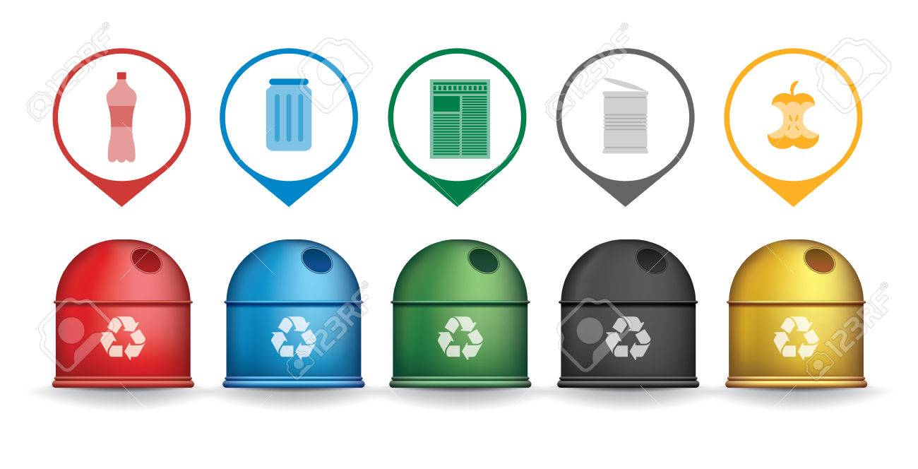 Recycle trash containers with garbage icons, vector set - 42062012