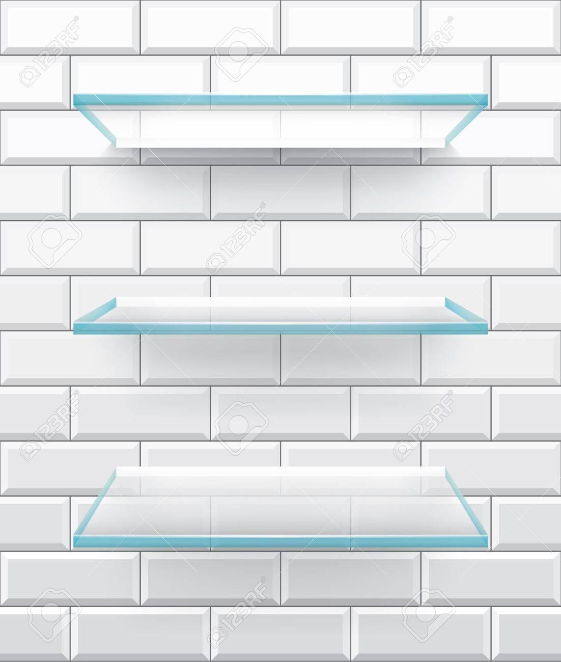 Bathroom glass shelves on white brick tiles background