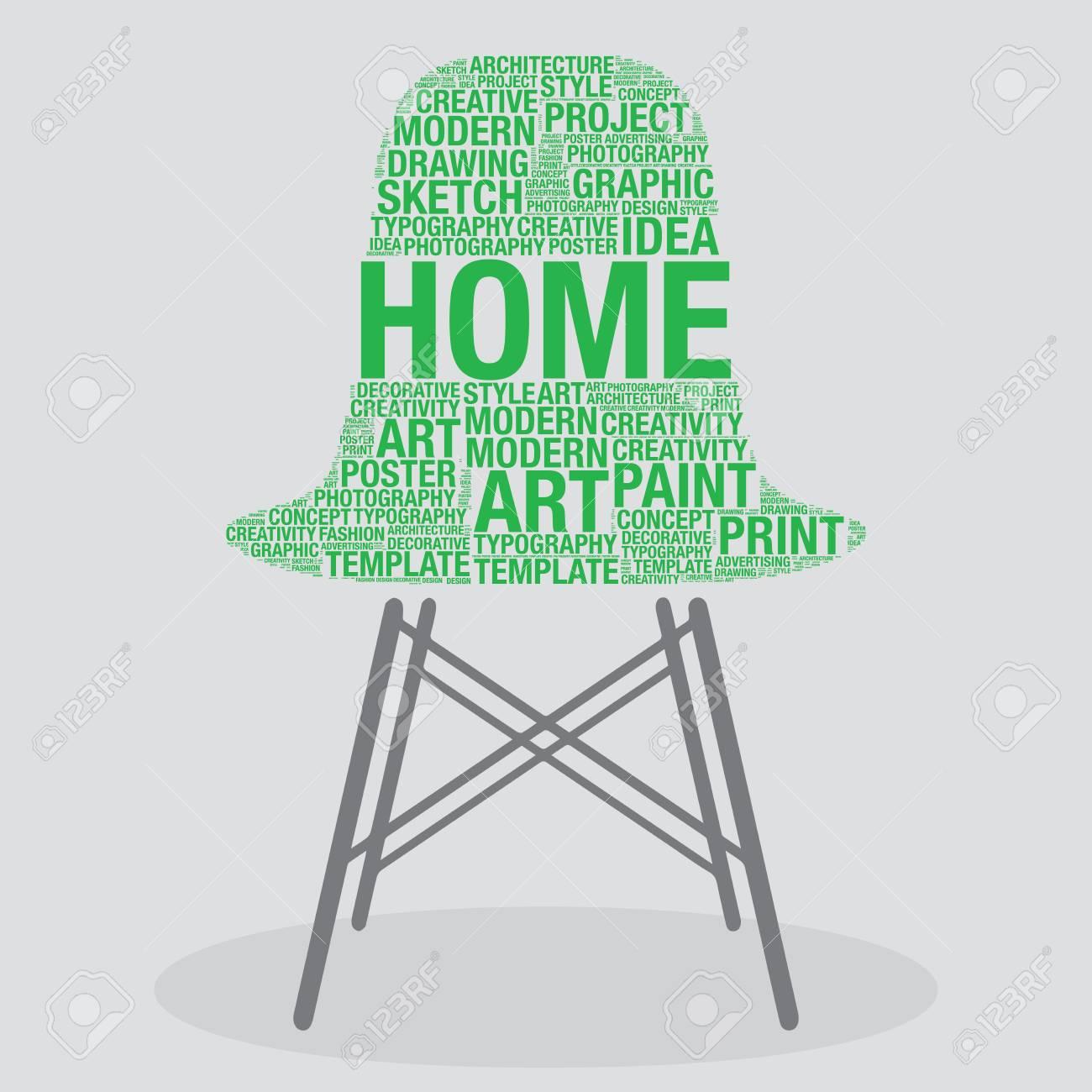 Home On Stylish Chair Interior Design Concept, Vector Illustration ...