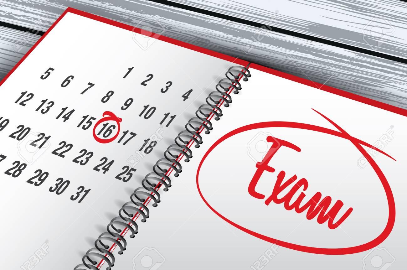 Calendario Examenes Derecho Us.Marca Del Dia Del Examen En La Ilustracion De Vector De Calendario