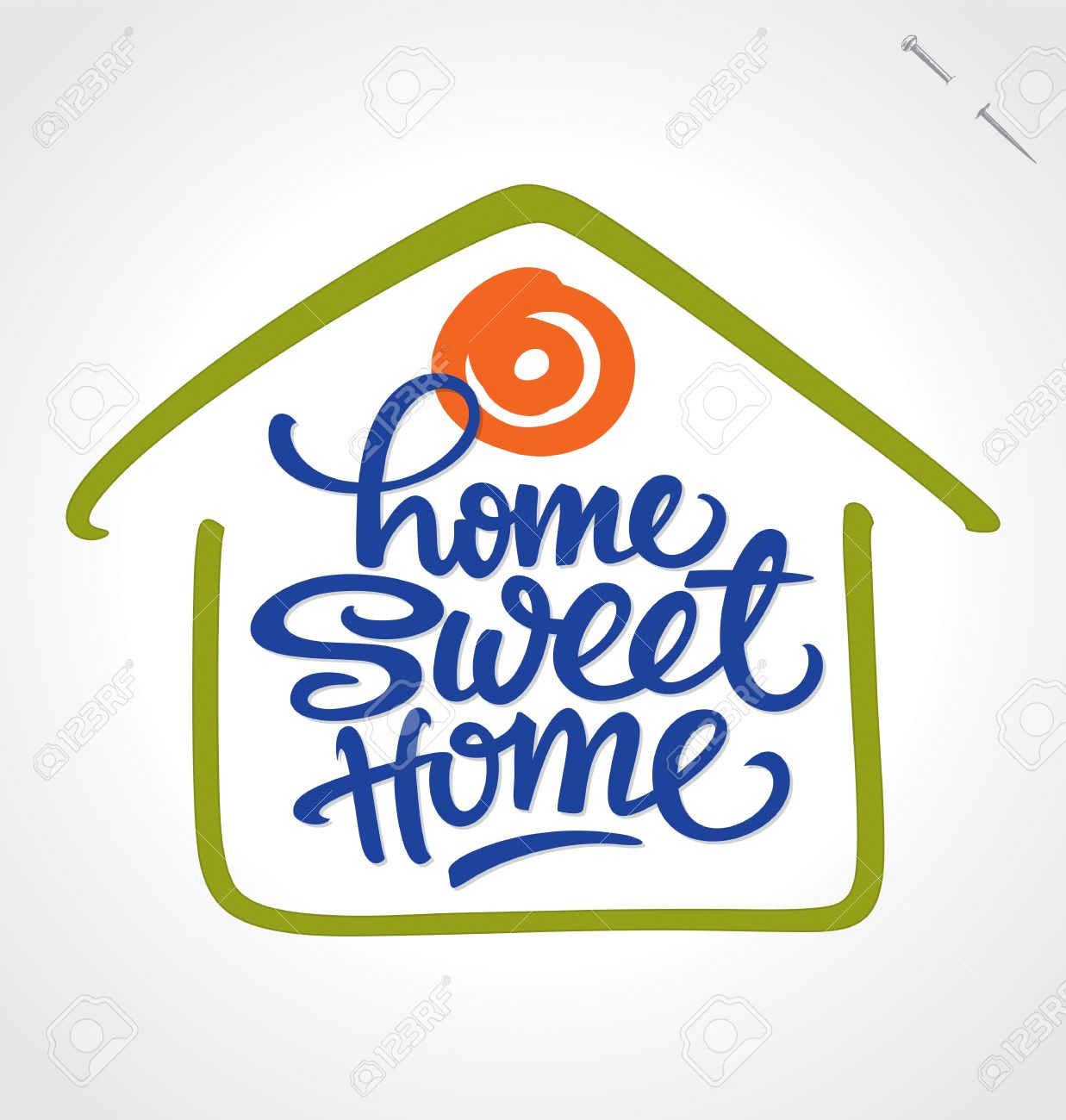 home sweet home hand lettering Stock Vector - 13671371