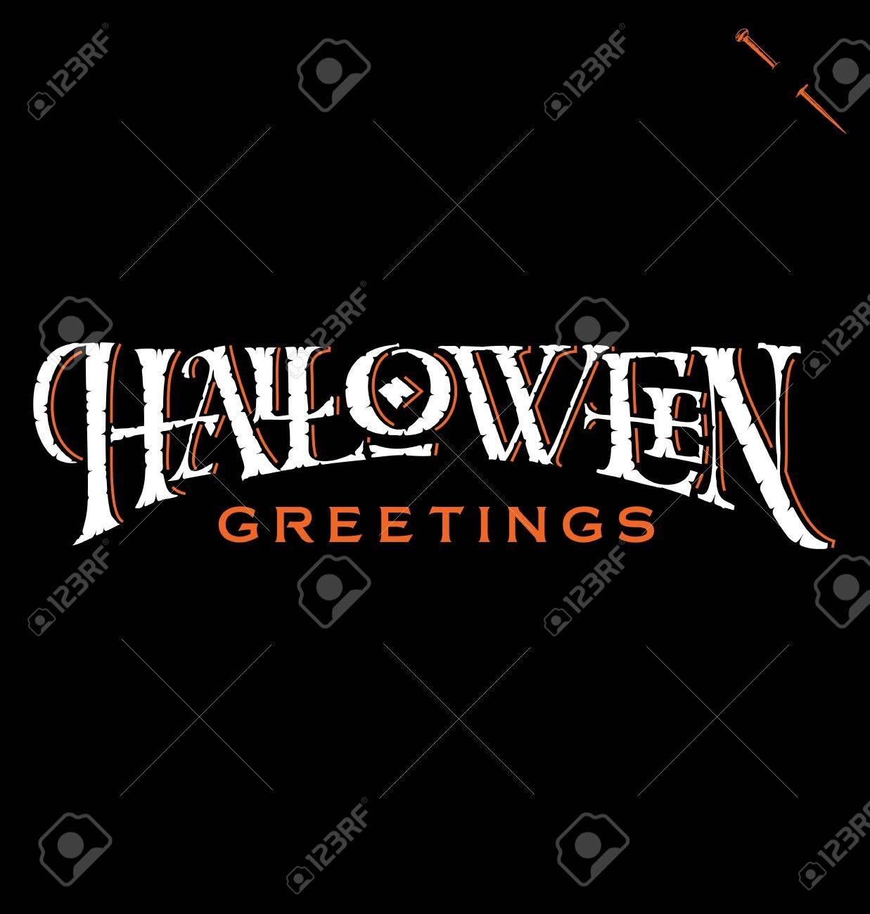 lettrage à la main salutations de halloween clip art libres de