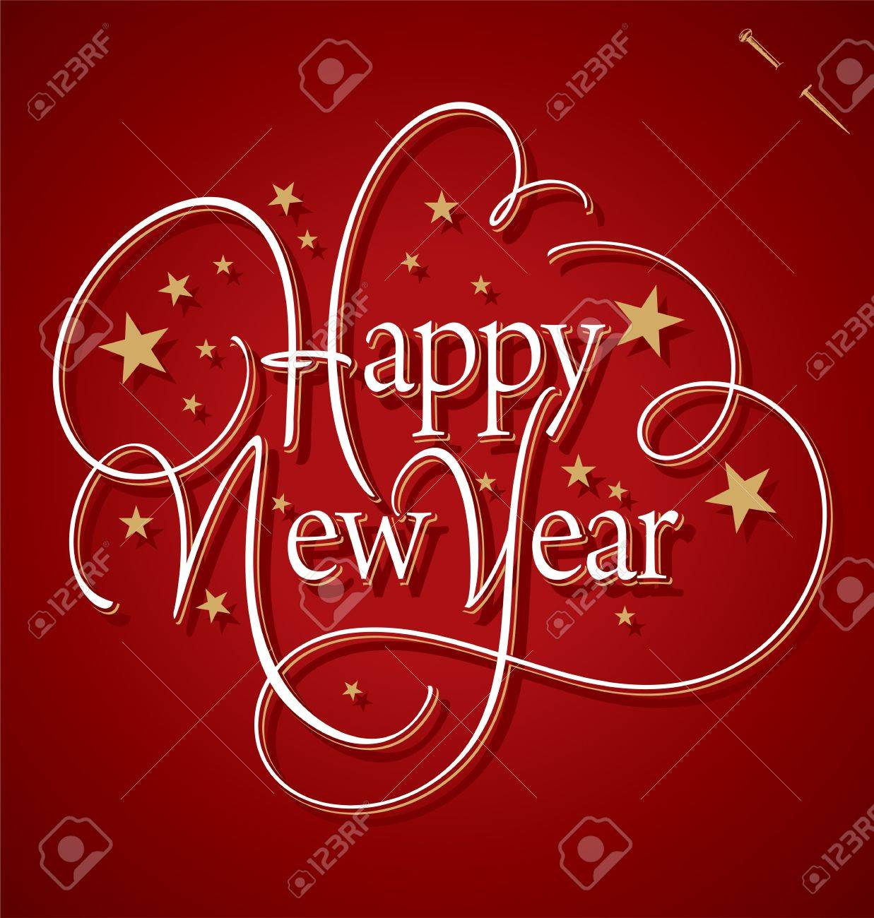 HAPPY NEW YEAR hand lettering Stock Vector - 16402407