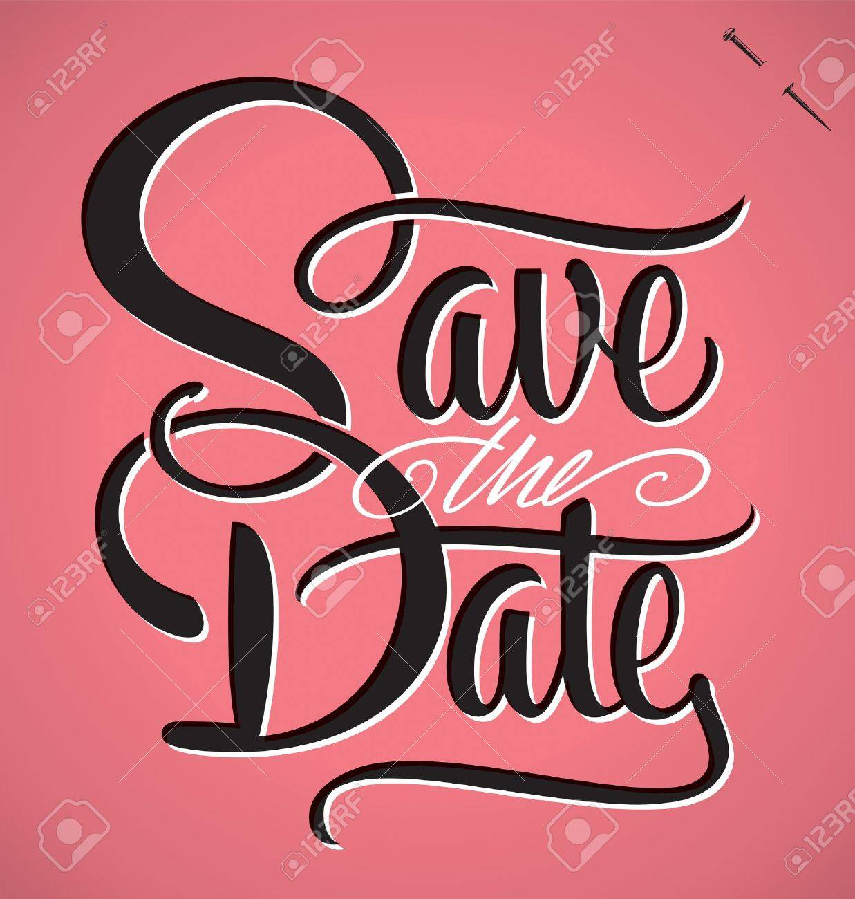 SAVE THE DATE hand lettering vector - 21527856