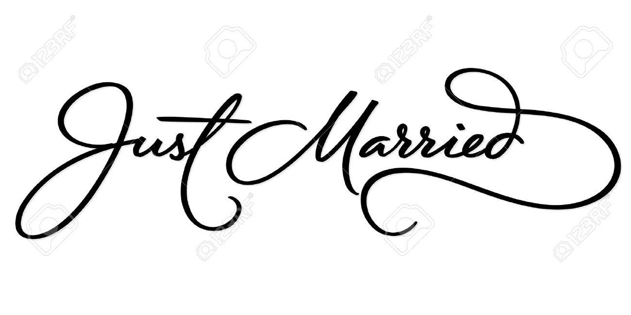 JUST MARRIED Hand Lettering Vector Illustration Hand Drawn