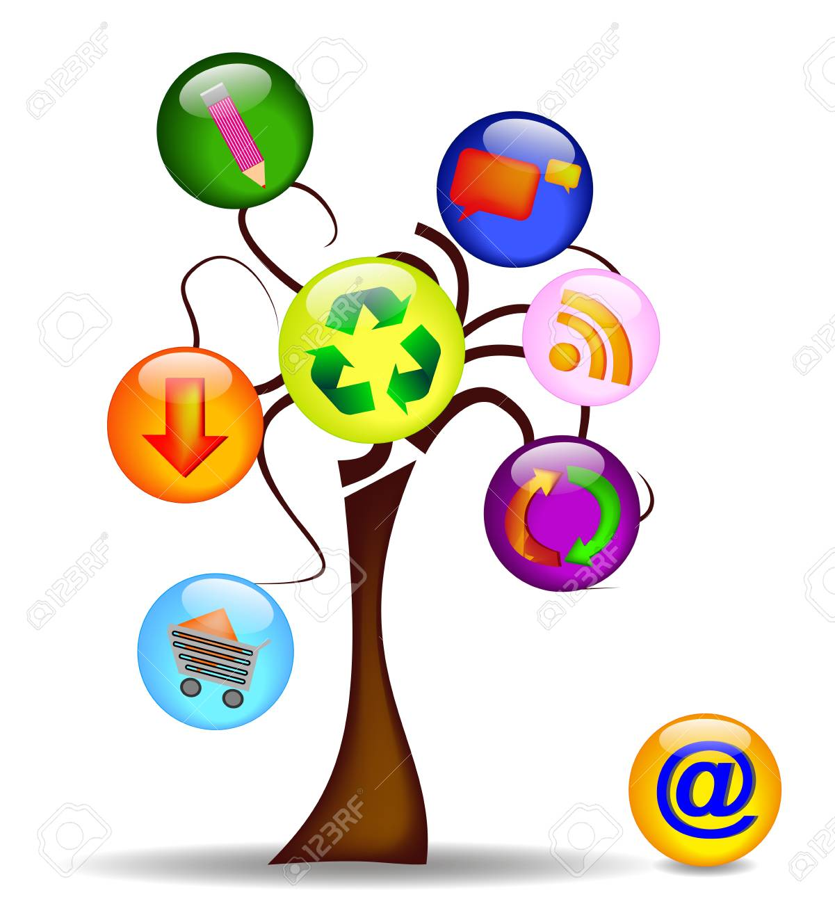illustration with tree and the main business icons Stock Vector - 9999075