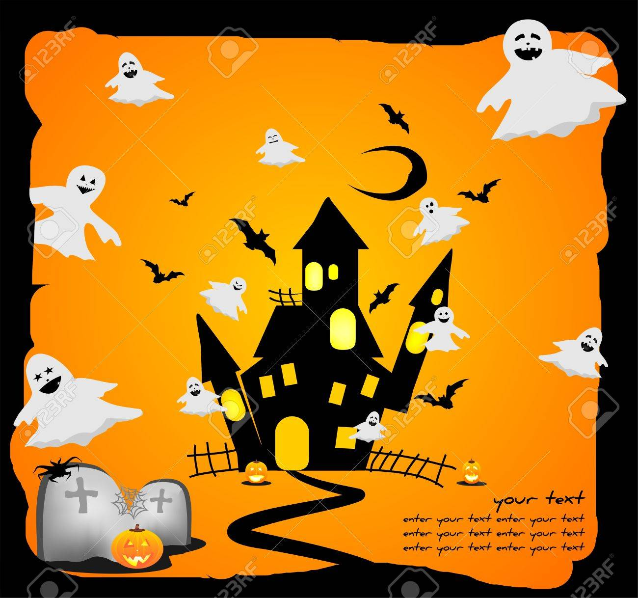 Funny Halloween Background With Ghosts Royalty Free Cliparts ...