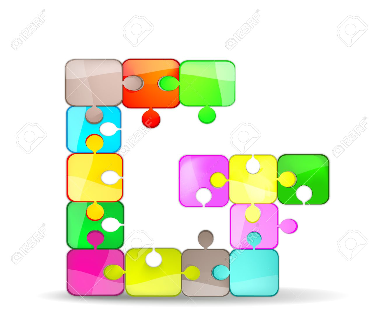 letter g with colorful puzzle Stock Vector - 10697974