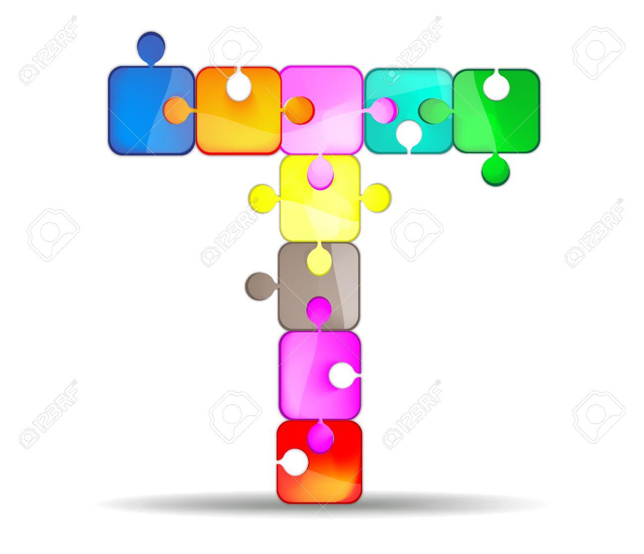 La Lettre T Avec Casse-tête Coloré Clip Art Libres De Droits ...