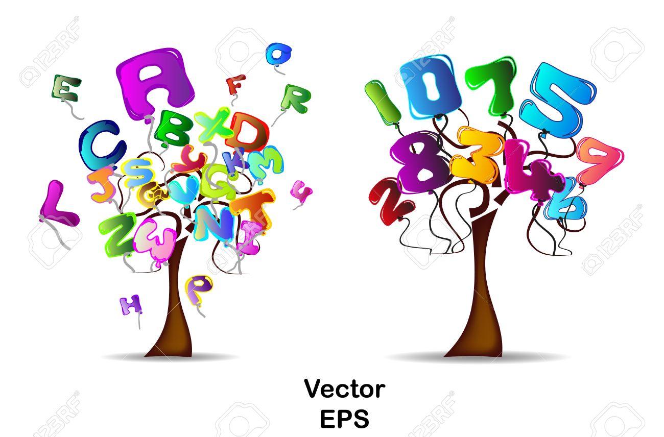 Los árboles con globos en forma de letras y números Foto de archivo - 11661570