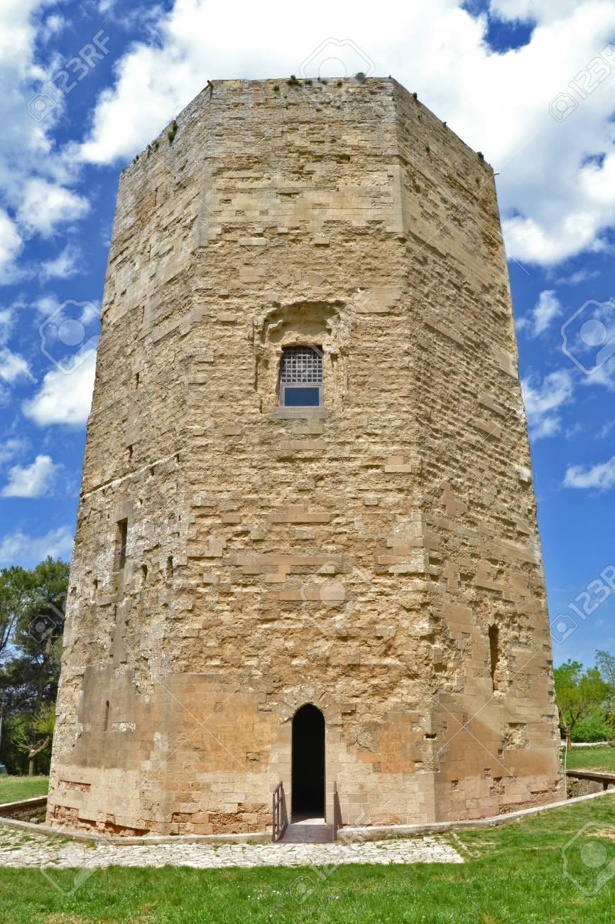 Hexagonal tower, Enna Stock Photo - 13595504