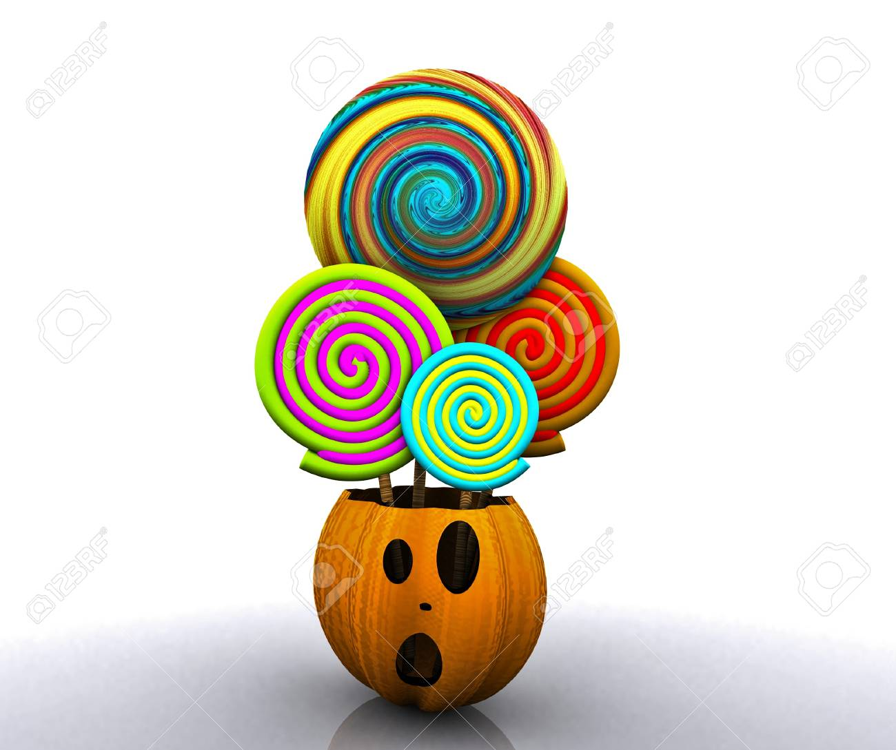 3D background of halloween - pumpkin with licks licks Stock Photo - 15627944