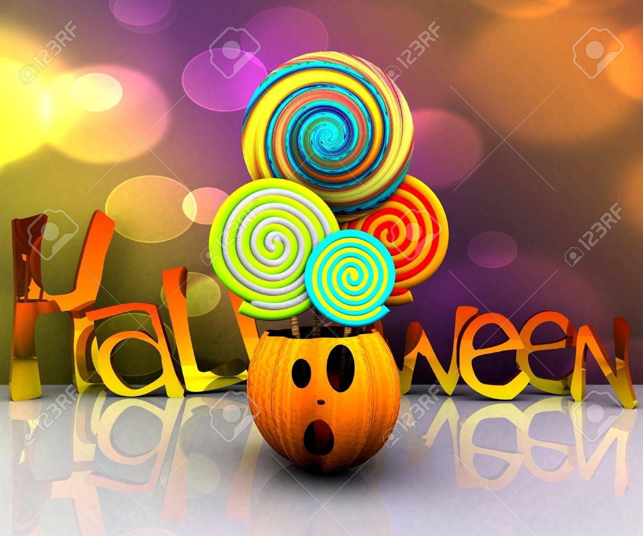 3D background of halloween - pumpkin with licks licks Stock Photo - 15627945