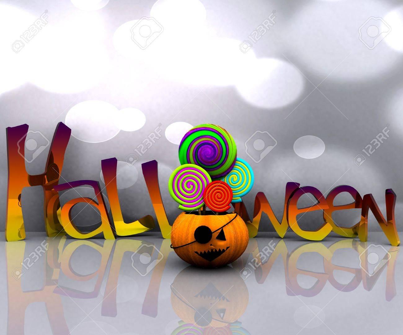 3D background of halloween - pumpkin with licks licks Stock Photo - 15627940