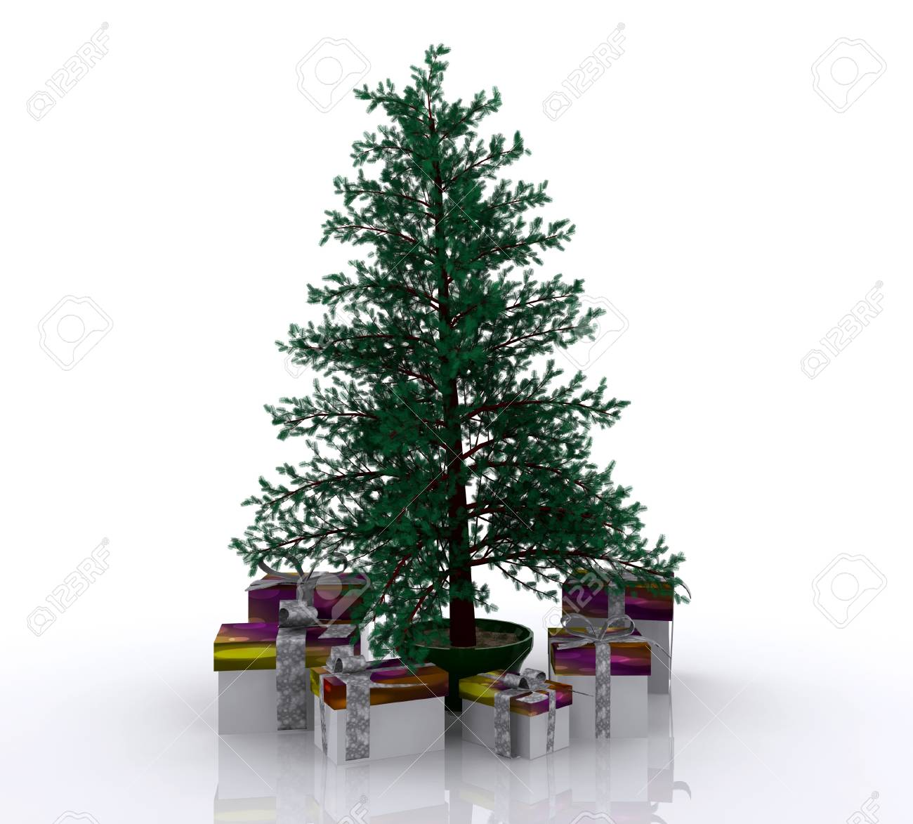 Christmas tree with gifts - 3D Stock Photo - 16105827