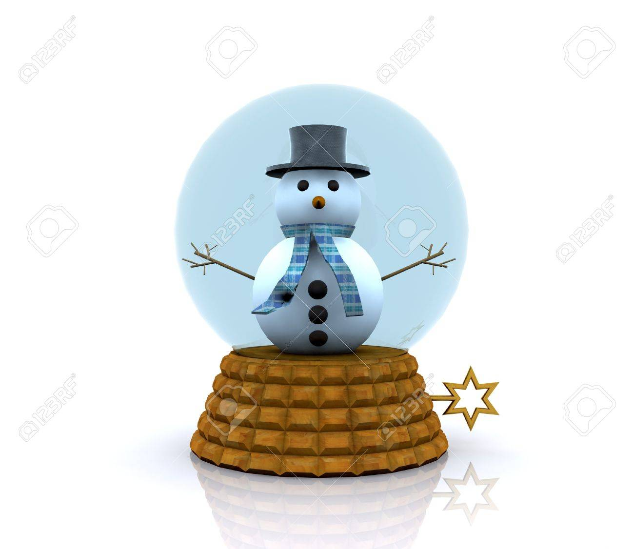 Glass ball with Snowman - 3D Stock Photo - 16331758