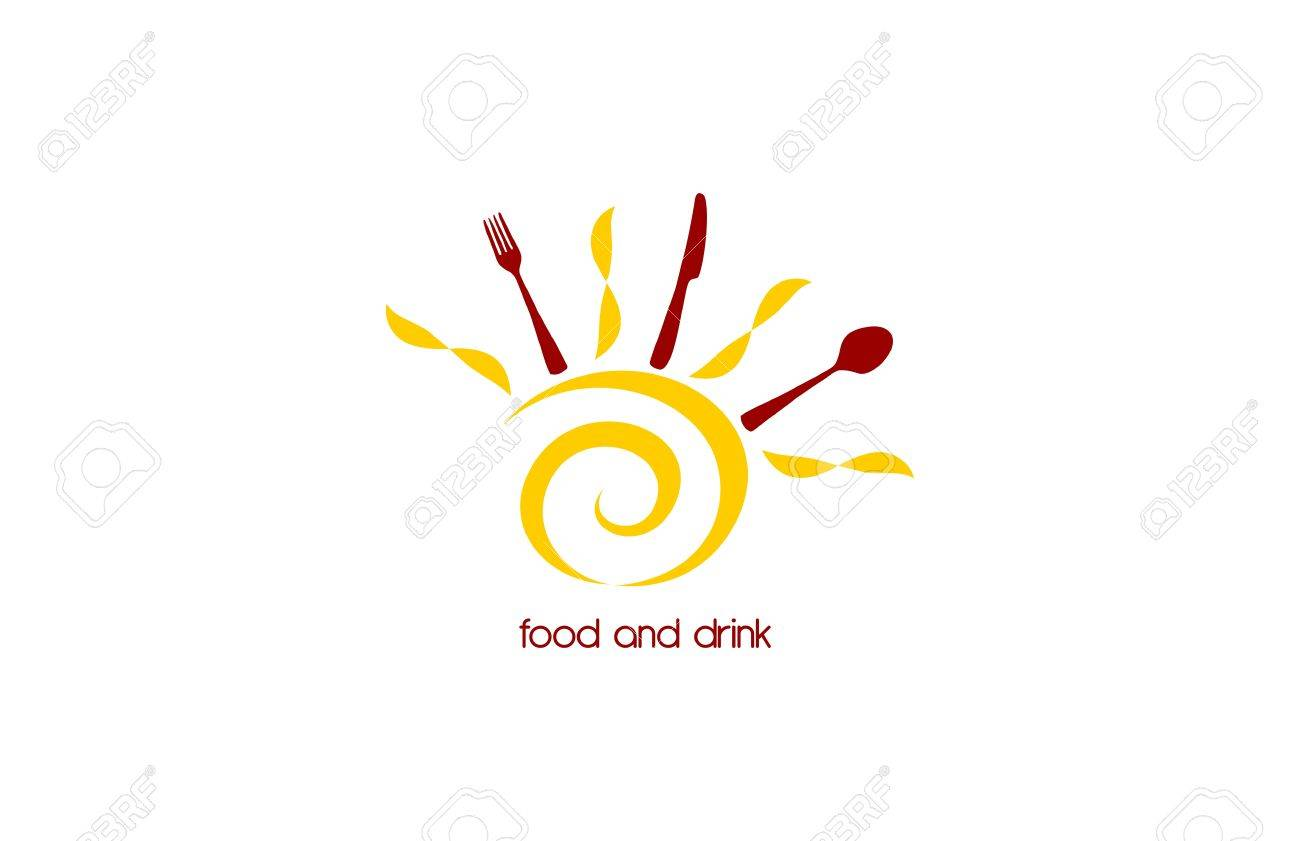 Food and drink logo with stylized sun and cutlery table Stock Vector - 16755405