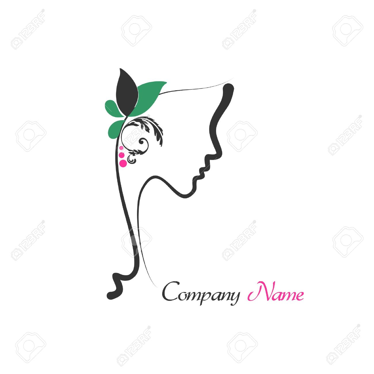 Logo of perfect profile of a woman with rose hair Stock Vector - 16850532
