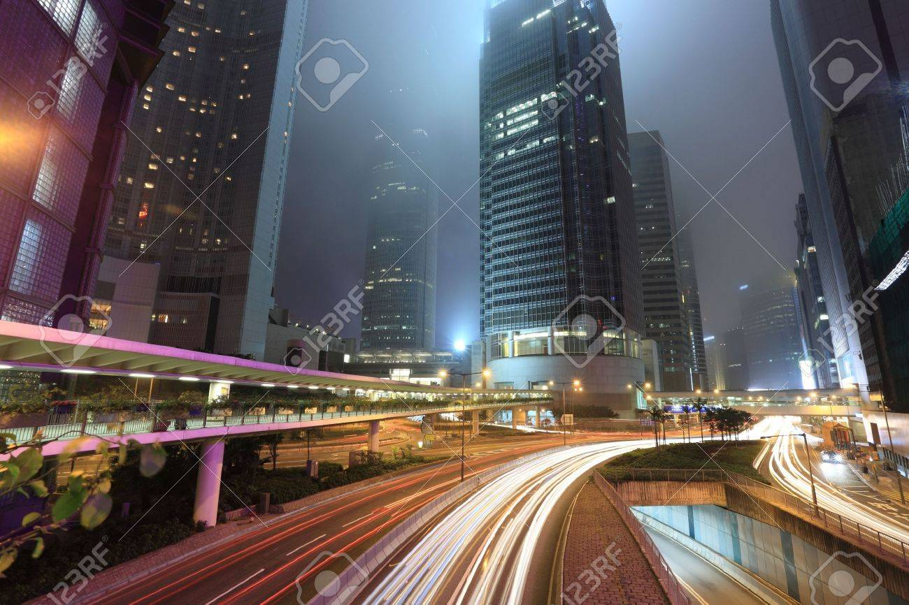 traffic in city at night Stock Photo - 6782749