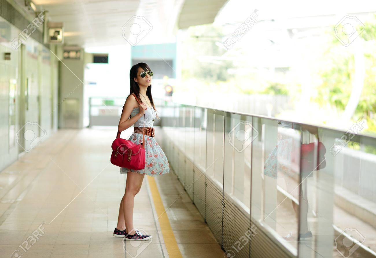 woman waiting for train Stock Photo - 7379710
