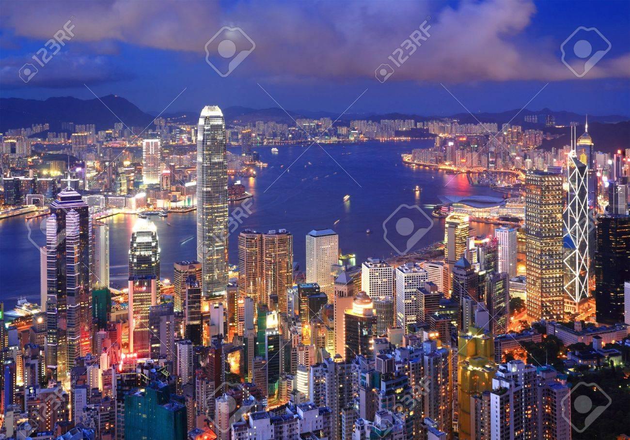 Hong Kong cityscape at night Stock Photo - 7690978