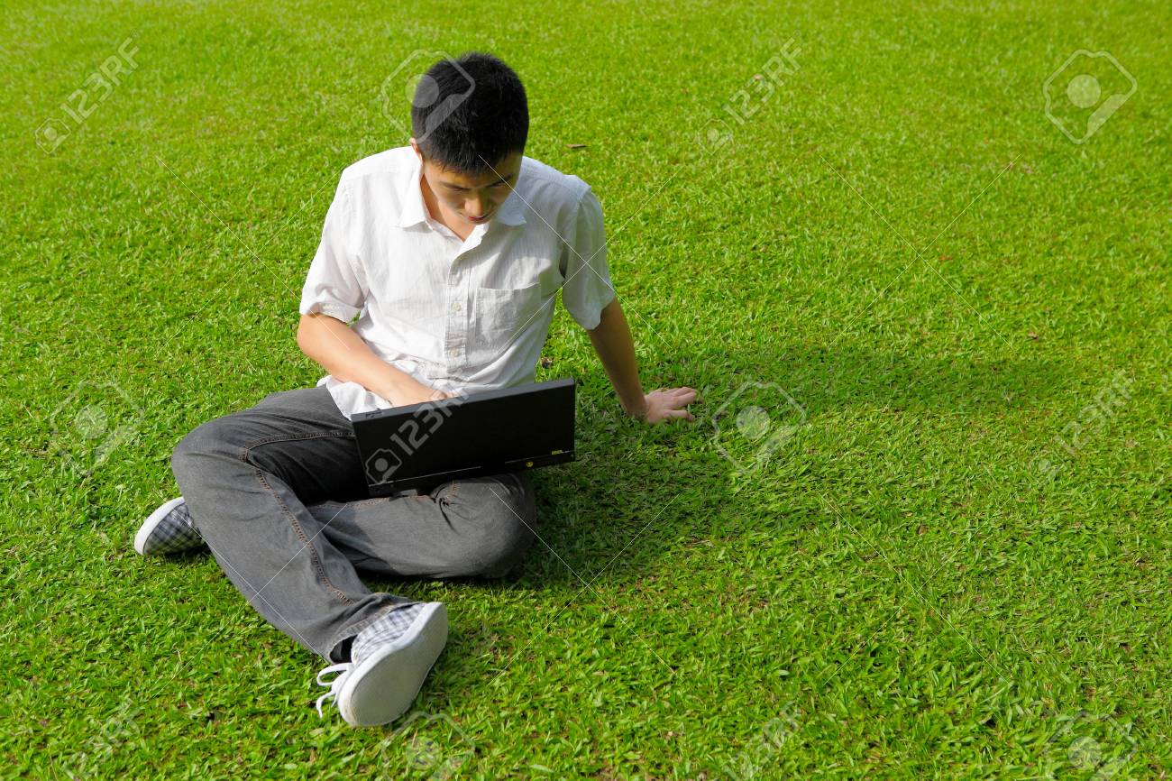 man using computer outdoor Stock Photo - 7691048