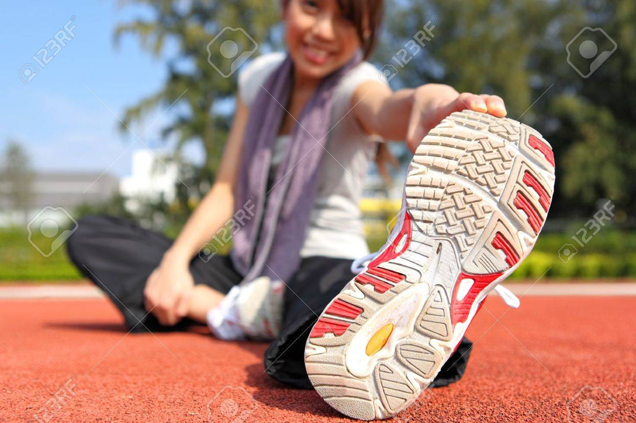 woman doing stretching exercise Stock Photo - 9108388