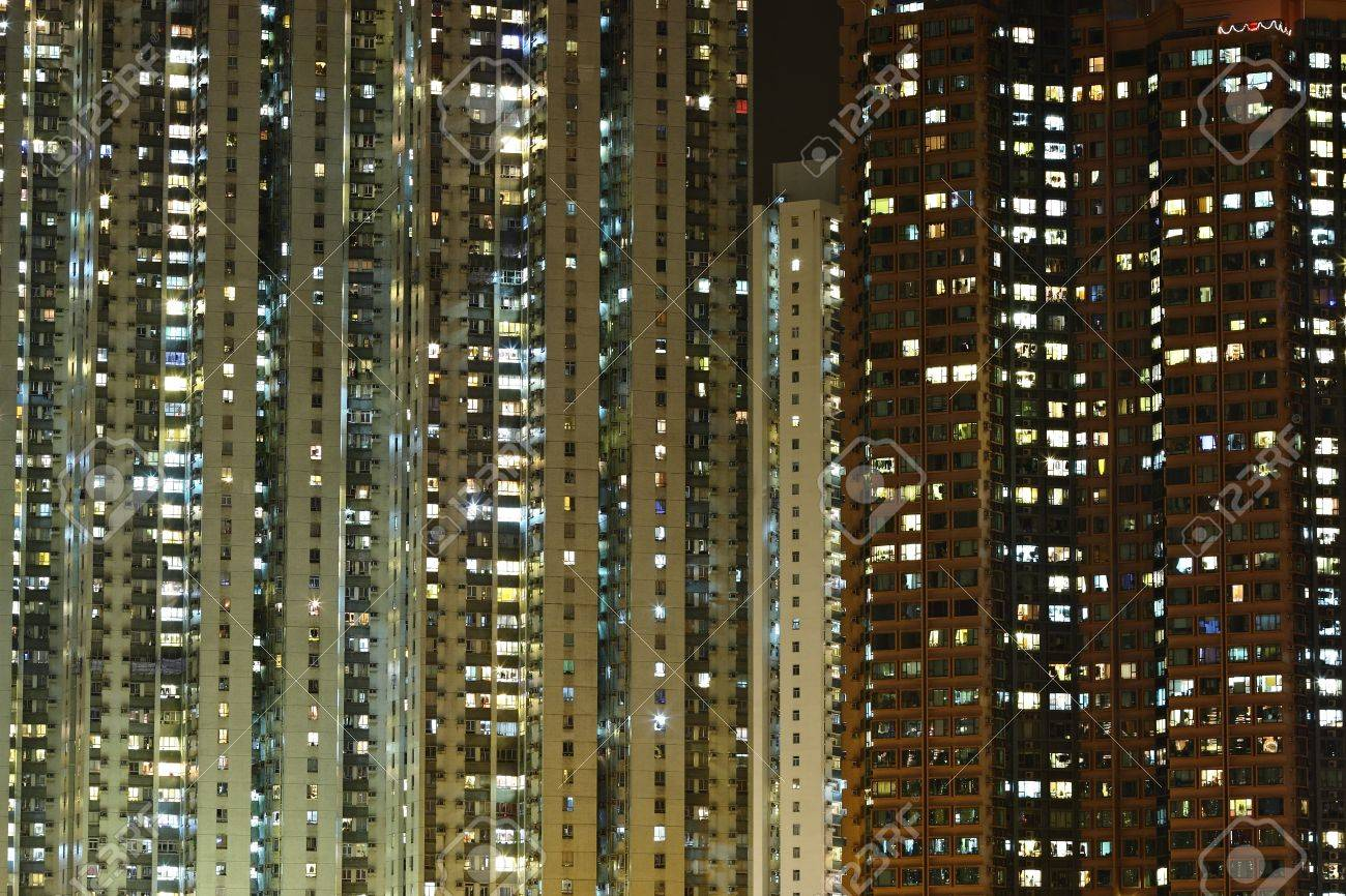 Apartment Building At Night Stock Photo Picture And Royalty Free