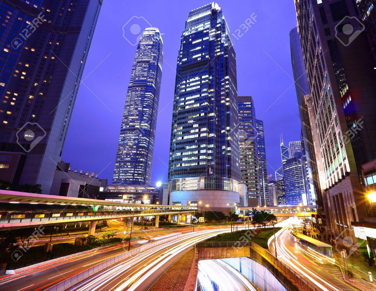 traffic in city at night Stock Photo - 10007871