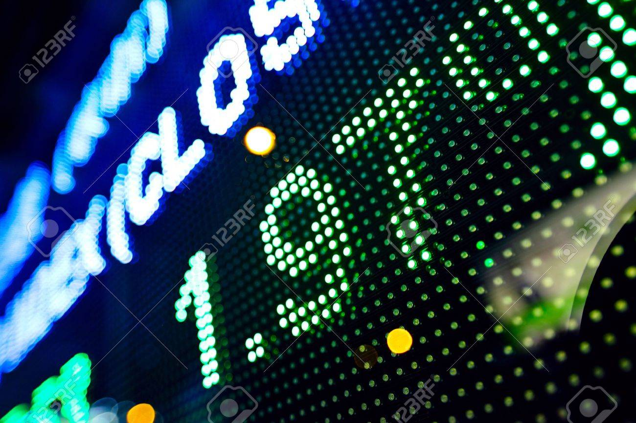 led display at night with stock infomation abstract Stock Photo - 10616999