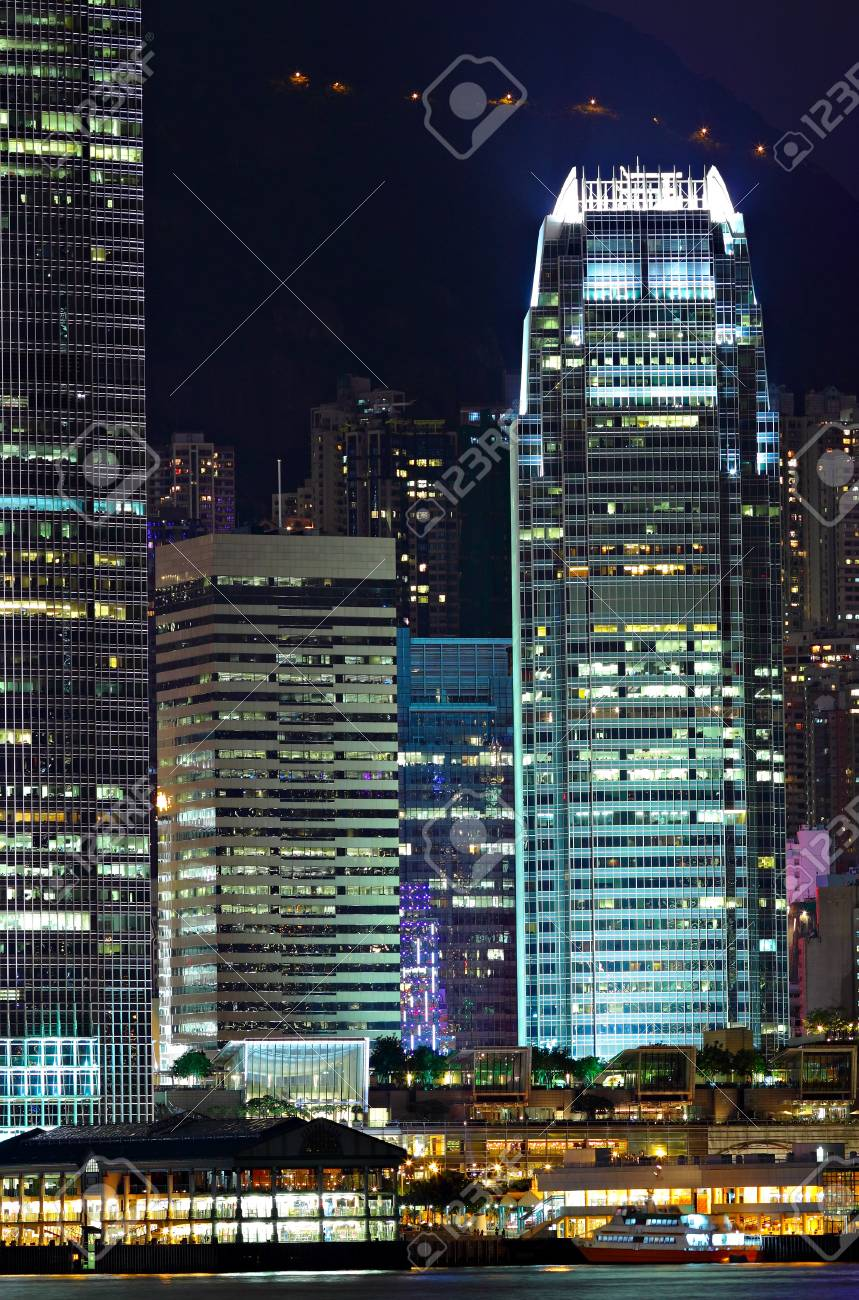 Details of business buildings at night in Hong Kong Stock Photo - 11926667