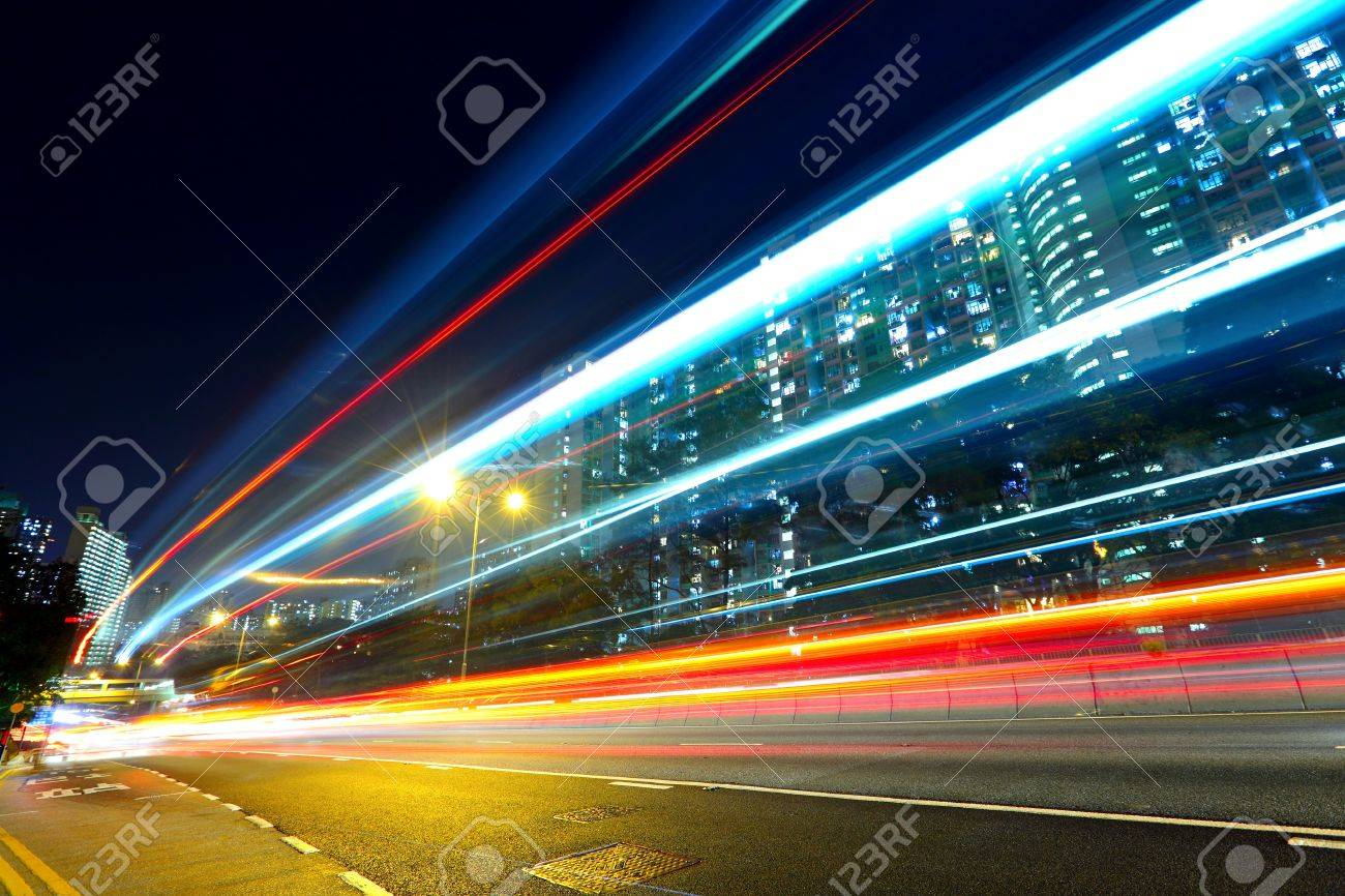 highway car light trails Stock Photo - 12191961