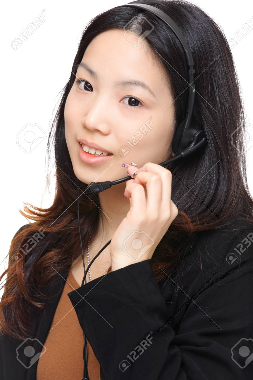 woman with headset Stock Photo - 12672117
